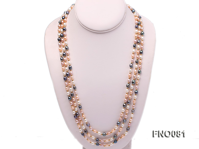 5-6mm multicolor oval freshwater pearl opera necklace big Image 1