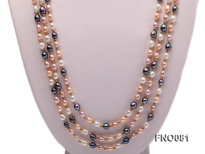 5-6mm multicolor oval freshwater pearl opera necklace big Image 2