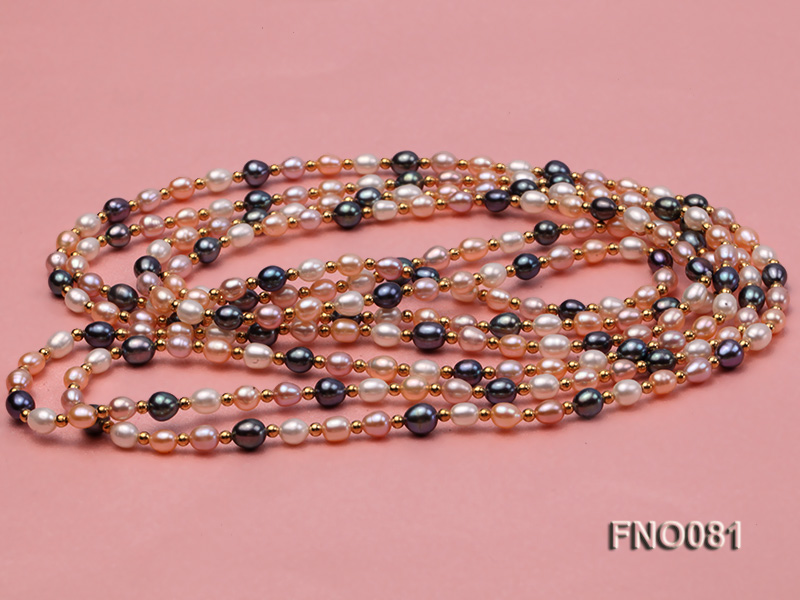 5-6mm multicolor oval freshwater pearl opera necklace big Image 3