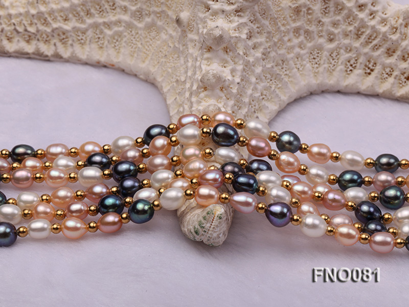 5-6mm multicolor oval freshwater pearl opera necklace big Image 4