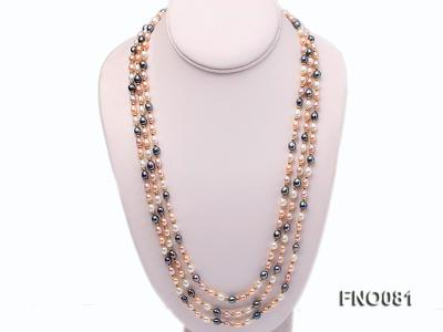 5-6mm multicolor oval freshwater pearl opera necklace FNO081 Image 1