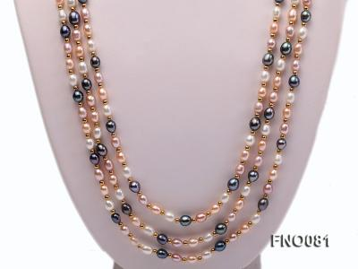 5-6mm multicolor oval freshwater pearl opera necklace FNO081 Image 2