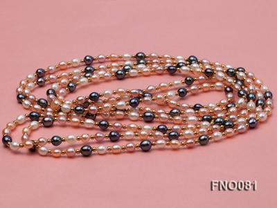 5-6mm multicolor oval freshwater pearl opera necklace FNO081 Image 3