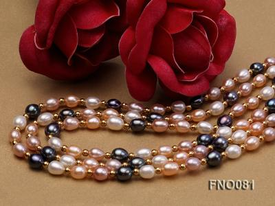 5-6mm multicolor oval freshwater pearl opera necklace FNO081 Image 5