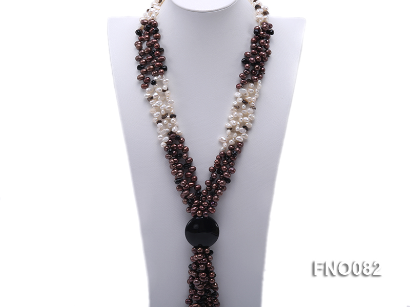 7x9mm white and brown oval freshwater pearl and black agate three-strand necklace big Image 1