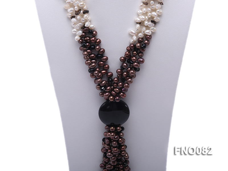 7x9mm white and brown oval freshwater pearl and black agate three-strand necklace big Image 2