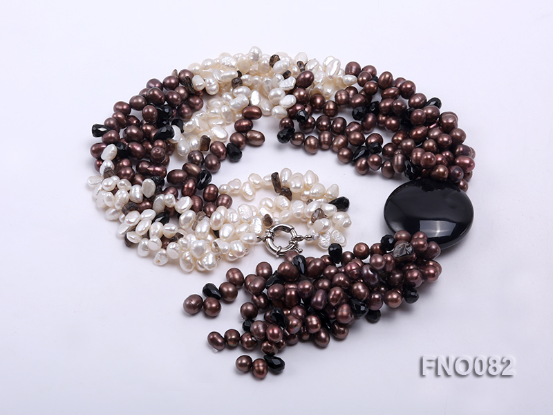 7x9mm white and brown oval freshwater pearl and black agate three-strand necklace big Image 3