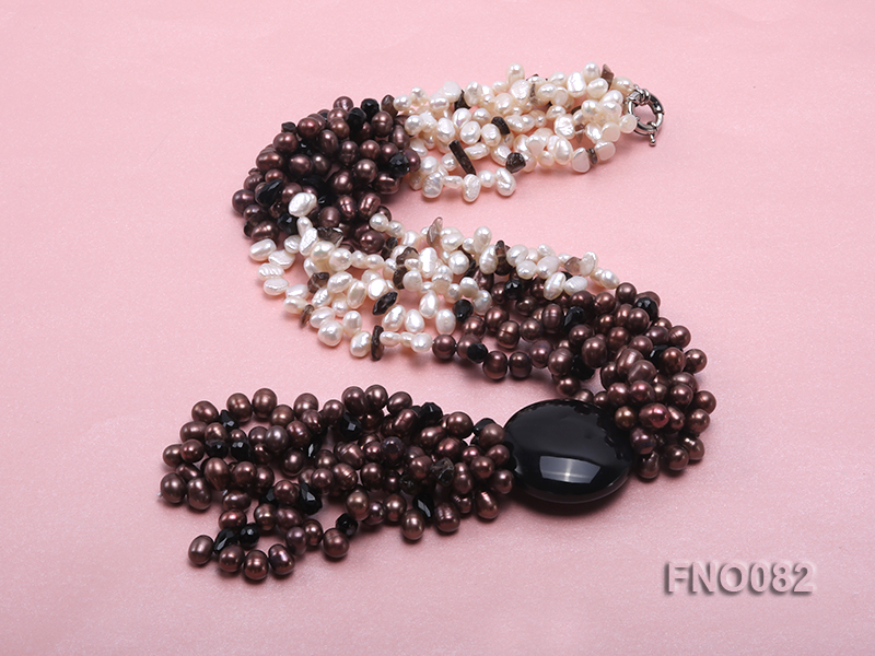 7x9mm white and brown oval freshwater pearl and black agate three-strand necklace big Image 4