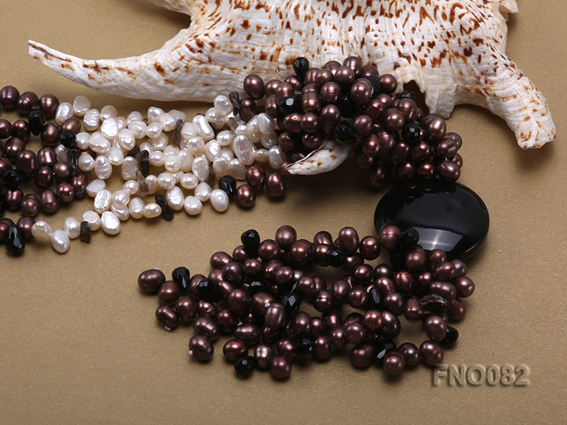 7x9mm white and brown oval freshwater pearl and black agate three-strand necklace big Image 5