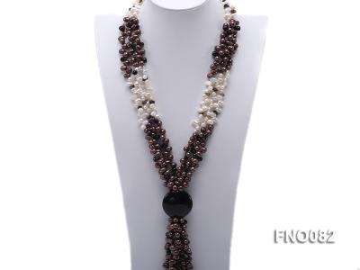 7x9mm white and brown oval freshwater pearl and black agate three-strand necklace FNO082 Image 1