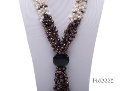 7x9mm white and brown oval freshwater pearl and black agate three-strand necklace FNO082 Image 2