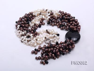 7x9mm white and brown oval freshwater pearl and black agate three-strand necklace FNO082 Image 3