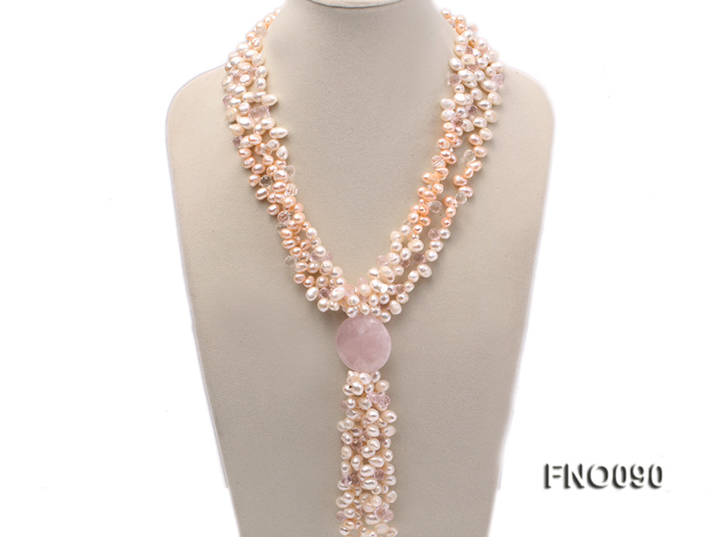 7x9mm white and pink flat freshwater and rose quartz three-strand necklace big Image 1
