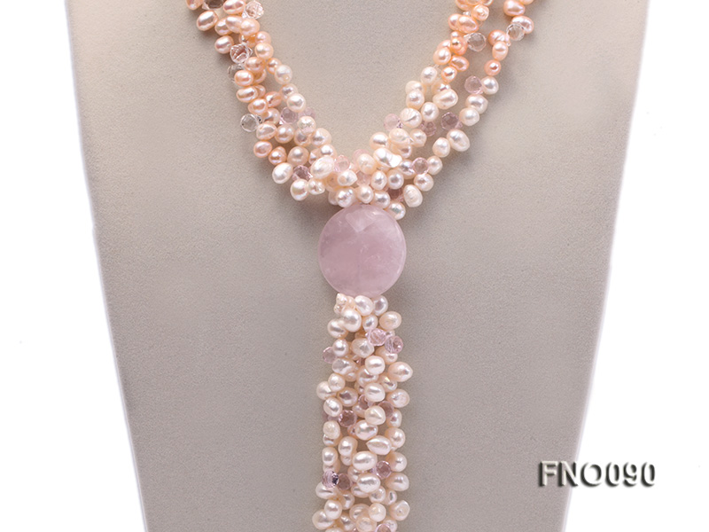 7x9mm white and pink flat freshwater and rose quartz three-strand necklace big Image 2