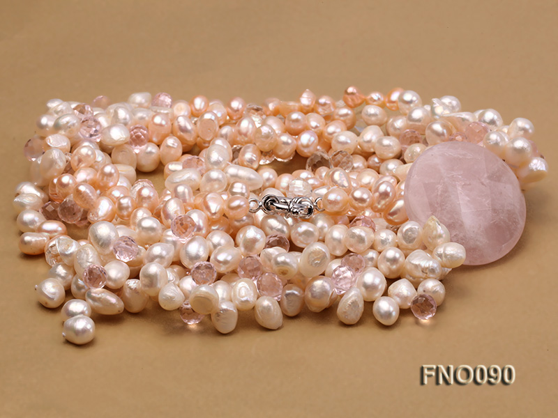 7x9mm white and pink flat freshwater and rose quartz three-strand necklace big Image 3
