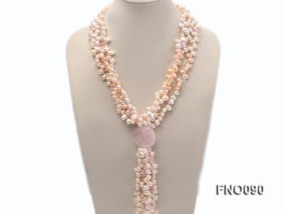 7x9mm white and pink flat freshwater and rose quartz three-strand necklace FNO090 Image 1