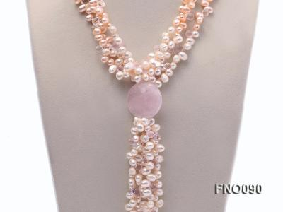 7x9mm white and pink flat freshwater and rose quartz three-strand necklace FNO090 Image 2