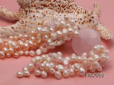 7x9mm white and pink flat freshwater and rose quartz three-strand necklace FNO090 Image 4