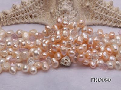7x9mm white and pink flat freshwater and rose quartz three-strand necklace FNO090 Image 5