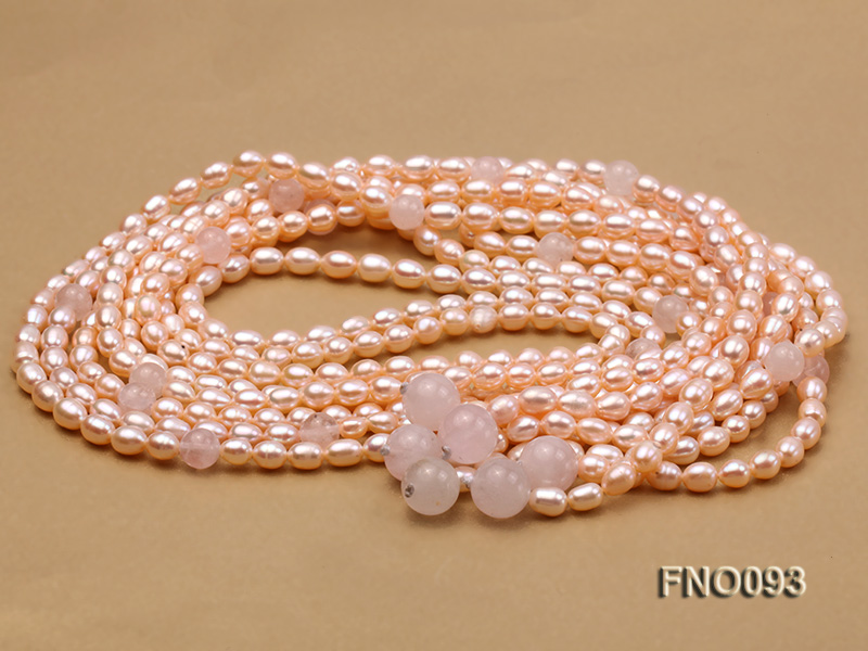 6x8mm Pink Oval Freshwater Pearl and Rose Quartz Three-Strand Necklace big Image 3