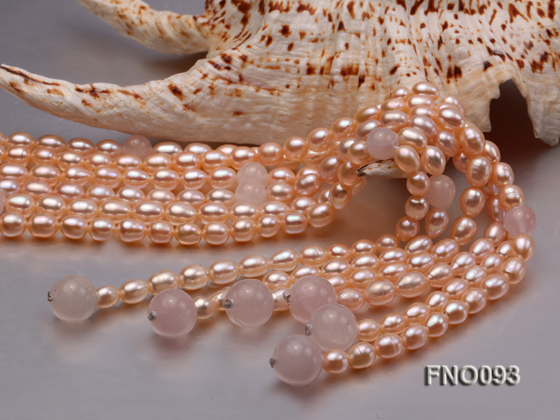 6x8mm Pink Oval Freshwater Pearl and Rose Quartz Three-Strand Necklace big Image 4
