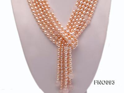 6x8mm Pink Oval Freshwater Pearl and Rose Quartz Three-Strand Necklace FNO093 Image 2
