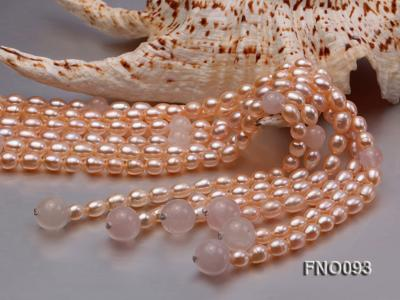 6x8mm Pink Oval Freshwater Pearl and Rose Quartz Three-Strand Necklace FNO093 Image 4