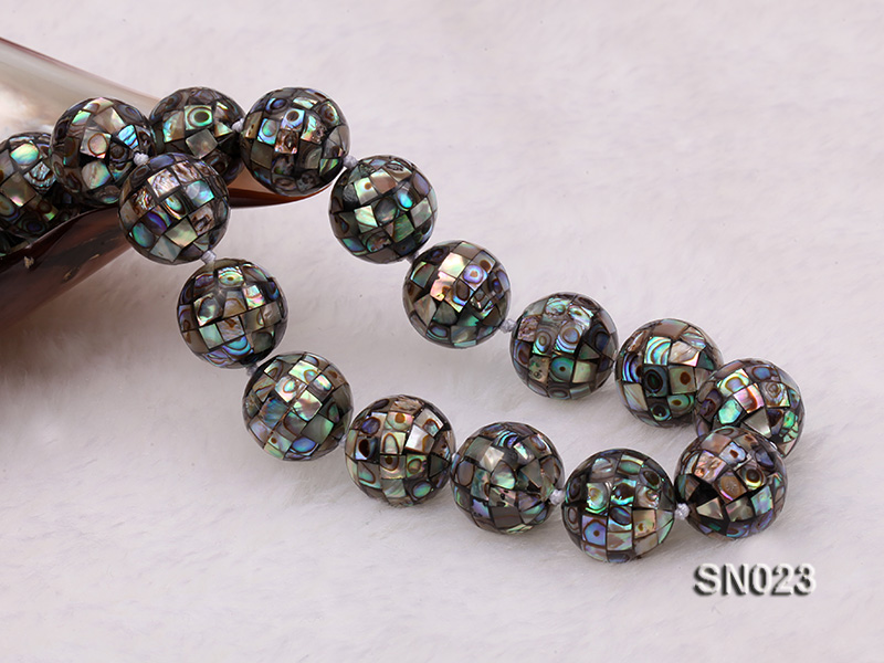 15.5mm Round Colorful Abalone Shell Beads Necklace big Image 2
