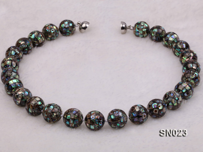 15.5mm Round Colorful Abalone Shell Beads Necklace big Image 3