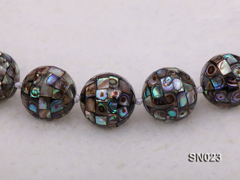 15.5mm Round Colorful Abalone Shell Beads Necklace big Image 4