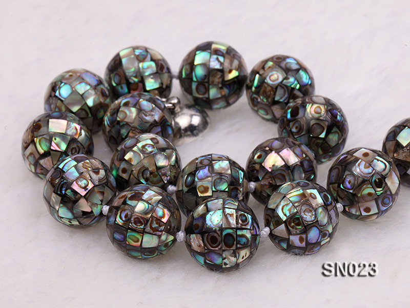 15.5mm Round Colorful Abalone Shell Beads Necklace big Image 5
