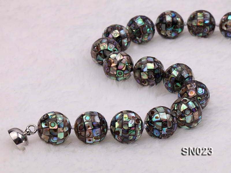 15.5mm Round Colorful Abalone Shell Beads Necklace big Image 6
