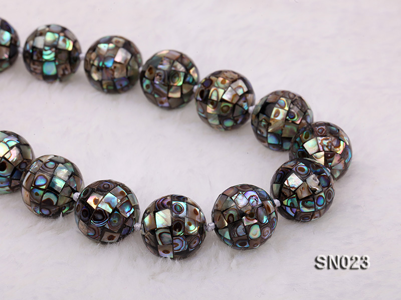 15.5mm Round Colorful Abalone Shell Beads Necklace big Image 7