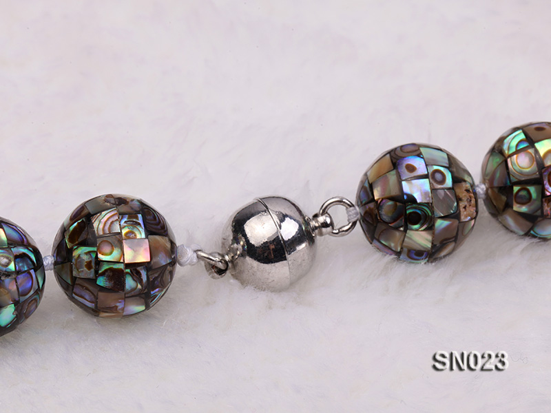15.5mm Round Colorful Abalone Shell Beads Necklace big Image 8
