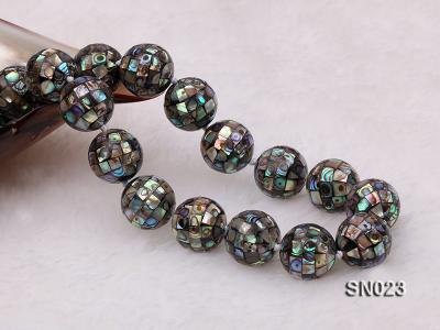 15.5mm Round Colorful Abalone Shell Beads Necklace SN023 Image 2