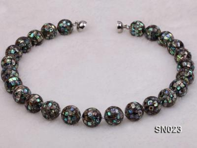 15.5mm Round Colorful Abalone Shell Beads Necklace SN023 Image 3