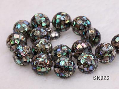 15.5mm Round Colorful Abalone Shell Beads Necklace SN023 Image 5