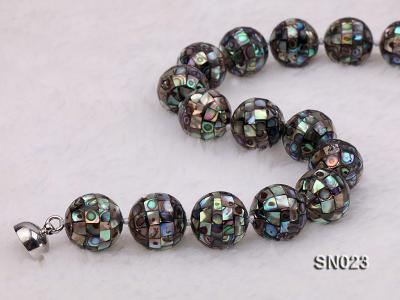 15.5mm Round Colorful Abalone Shell Beads Necklace SN023 Image 6