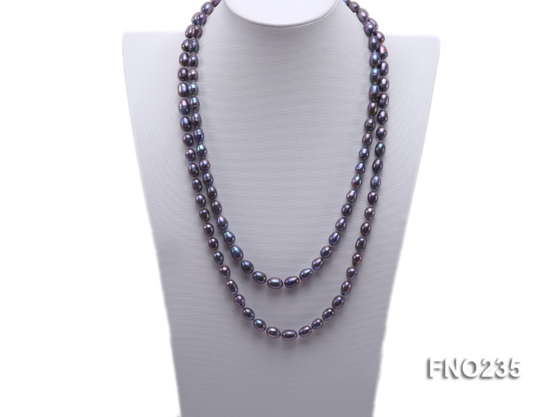 7-8mm black oval pearl opera necklace big Image 1