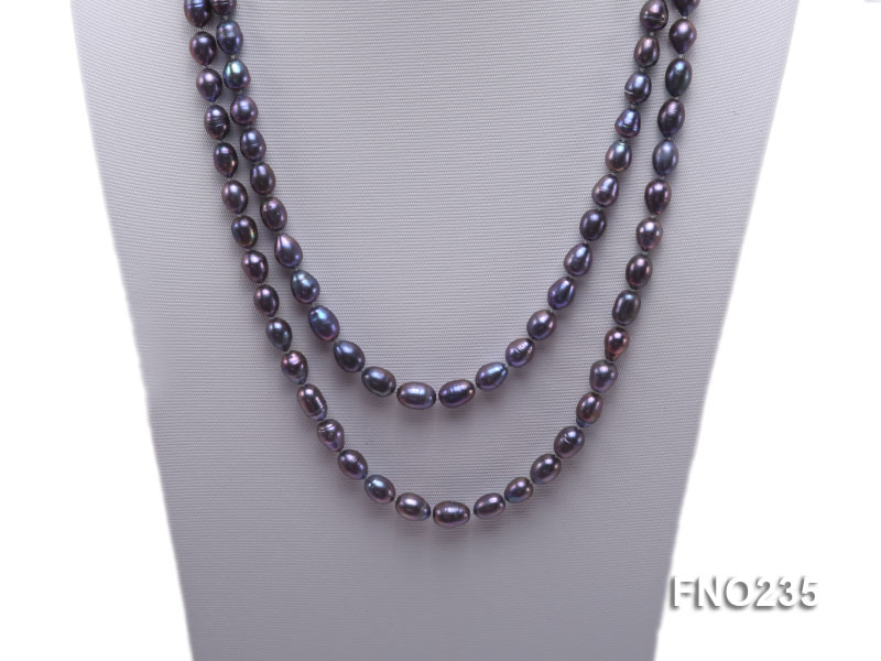 7-8mm black oval pearl opera necklace big Image 2