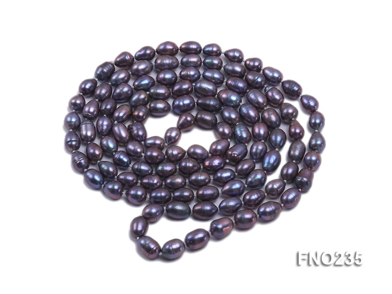 7-8mm black oval pearl opera necklace big Image 3