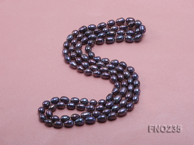7-8mm black oval pearl opera necklace big Image 4