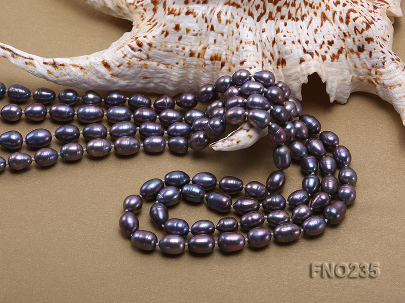 7-8mm black oval pearl opera necklace big Image 5