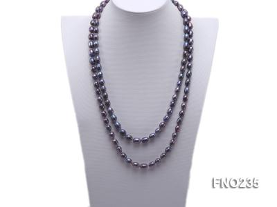 7-8mm black oval pearl opera necklace FNO235 Image 1