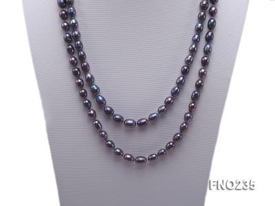 7-8mm black oval pearl opera necklace FNO235 Image 2
