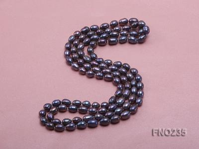 7-8mm black oval pearl opera necklace FNO235 Image 4