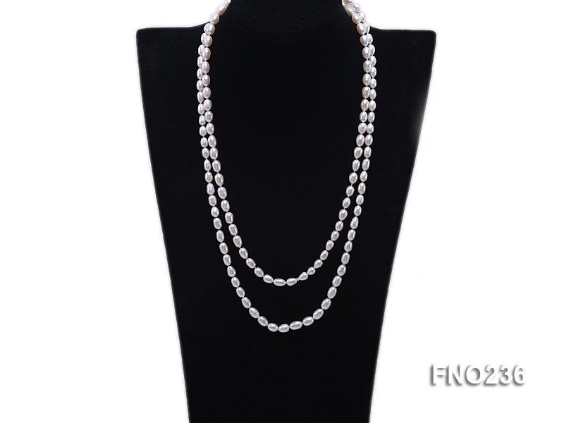 7-8mm white oval freshwater pearl necklace big Image 1