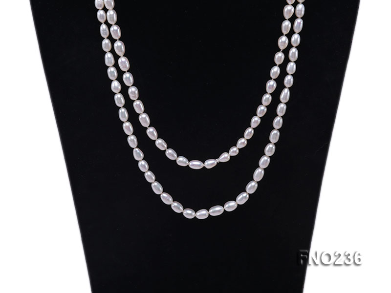 7-8mm white oval freshwater pearl necklace big Image 2