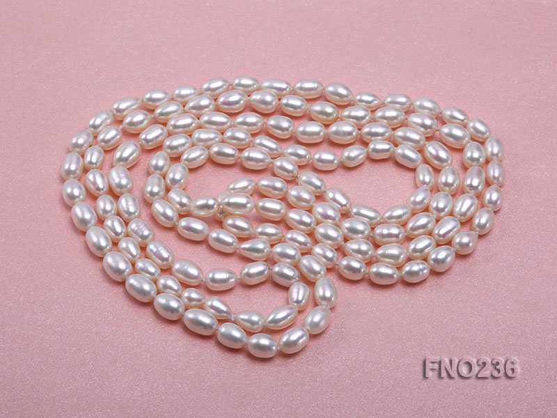 7-8mm white oval freshwater pearl necklace big Image 3