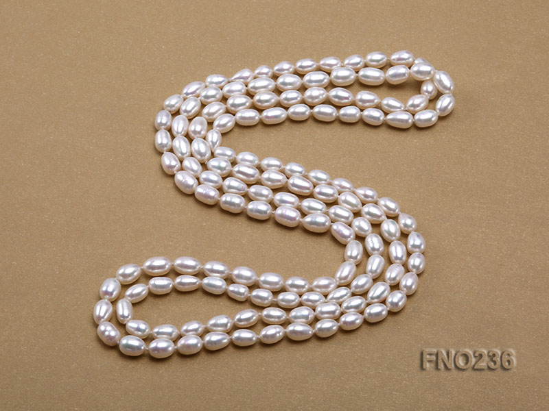 7-8mm white oval freshwater pearl necklace big Image 4